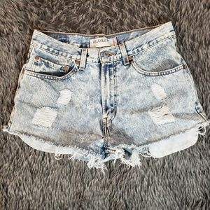 Levi's 550 Acid Washed Mom Cutoff Jeans